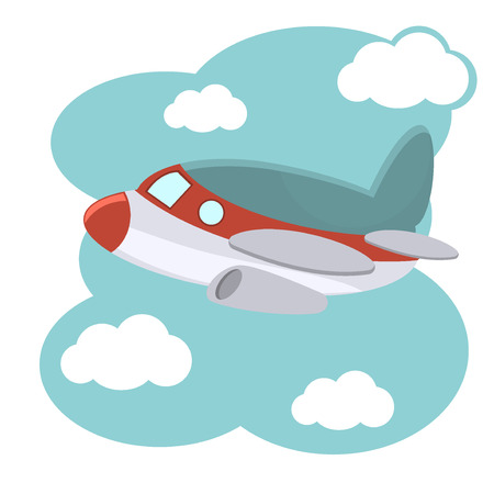 caricatura mosca: Plano de la historieta en la ilustración de cielo azul .. Ilustración de avión de la historieta en el cielo azul. Fly avión de la historieta de transporte aéreo y el dibujo de la aviación de ala de avión de juguete lindo.