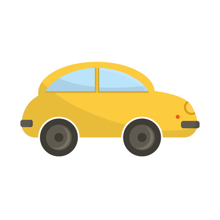 funny travel: Yellow funny cartoon car illustration. Cartoon car vehicle transportation isolated. Travel wheel design funny cartoon toy car. Road drive icon traffic sport car.