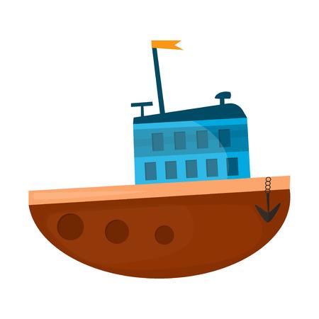 cruise ship icon: Cartoon ship illustration. Cartoon boat sea vessel transportation and travel cartoon boat travel icon. Cruise sailboat drawing symbol cartoon ship design. Illustration