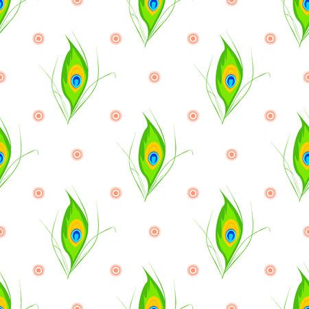 mythological: illustration of Happy Janmashtami seamless pattern. Janmashtami traditional religious festival krishna hindu. Worship mythology religion janmashtami mythological, bhagavan handi deity graphic. Illustration