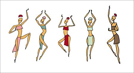 Afrikanische Frauen in traditioneller Kleidung. Tanzen Afrikaner und Ureinwohnern ethnischen Stil. Hand der Frauen in ethnischen Stil ertrinken, tanzen afrikanischen Mädchen. Vektorgrafik