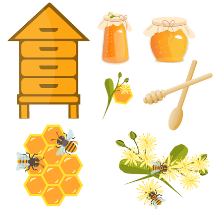 linden blossom: Icons apiaries and bee linden blossom. Bee flying in beehive, jar honey and honeycomb, beekeeper apiary. Apiary set art. Apiary set honey beekeeping beeswax apiary bee, honey jar, little bee.