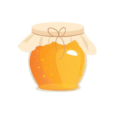 food production: Honey jar . Apiary symbol. Bee, honey, honey bank, honey pot comb. Honey natural healthy food production. Honey liquid bank isolated. Beehive and wax. Sticky ingredient dessert.