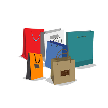 fashion shopping: Set of Colorful Empty Shopping Bags set. Shopping bags fashion design store merchandise handle package. Colorful paper gift handle package shop, market shopping bags.
