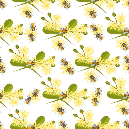 linden: Honey bee with linden blossom. Bee seamless pattern honeycomb linden blossom hexagon nature flowers. Linden blossom bee seamless pattern honey bee design shape organic hive linden blossom.