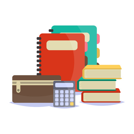 office accessories: illustration of Back to School supplies. School supplies learning equipment and different school supplies colorful office accessories. Back to school school supplies big set.