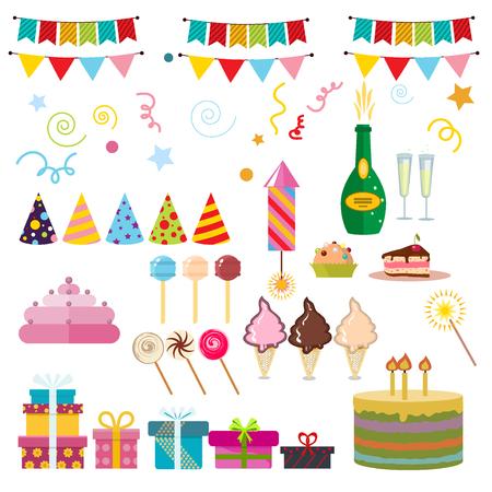 event party festive: Celebration happy birthday party symbols carnival festive set. Colorful happy birthday party symbols hat, gifts, balloon. Happy birthday party symbols event funny decoration collection.