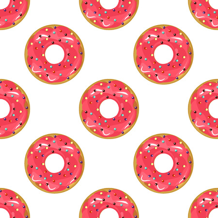 glazing: Cute donuts with colorful glazing seamless pattern. Seamless background of colorful donuts glazed. donut, sweet food texture cake dessert sugar cream pastry chocolate dessert bakery. Illustration