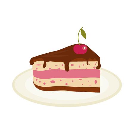 porcion de torta: Pedazo de pastel de chocolate con crema y cerezas cumpleaños sabroso hornear. ilustración de chocolate de división pedazo de la torta. El azúcar de pastelería gourmet torta rebanada torta deliciosa comida pastel de postre.