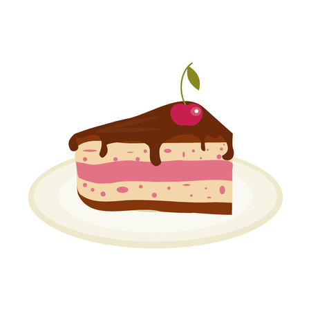 piece of cake: Piece of chocolate cake with cream and cherry birthday tasty bake. illustration chocolate piece cake slice. Sugar gourmet pastry cake slice sweet delicious pie dessert food. Illustration