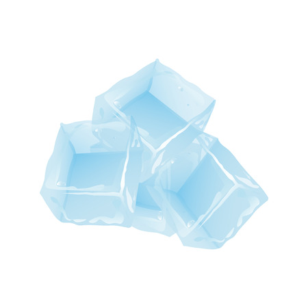 refrigerate: Ice cubes set on white background. Transparent blue ice cube and water drops.freeze glass freshness frost crystal. Illustration