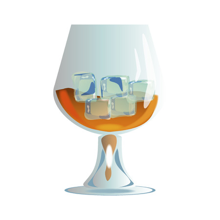 brandy: whiskey with ice in glass isolated on white. Glass of scotch whiskey and ice. Brown brandy glass beverage transparent cognac. Elegance restaurant brandy glass classic golden strong scotch.