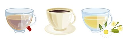 decaf: Lots of coffee in different cups - coffee time. Beverage hot breakfast morning coffee. Morning tea drink mug. Espresso caffeine beverage cups of coffee.