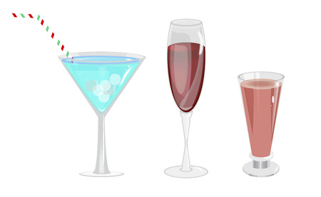 Alcohol drinks in glasses transparent set isolated. Beverage cocktail wine alcohol glasses. Selection of colorful festive Christmas drinks, alcoholic beverages and cocktails in elegant glasses