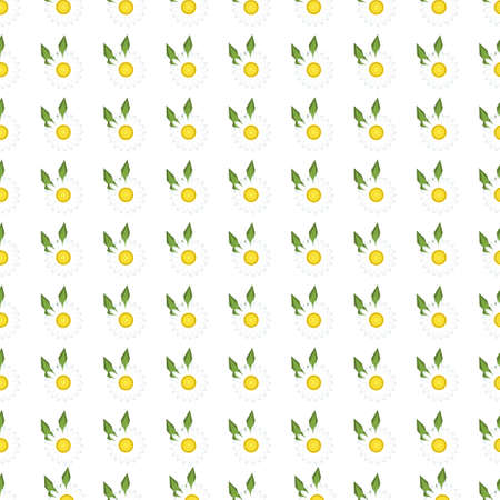 daisy field: White daisies seamless pattern on yellow background. Daisy field chamomile seamless pattern abstract design plant texture. Nature flower daisies summer chamomile seamless pattern. Stock Photo