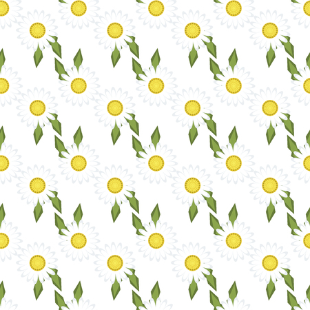 field of daisies: White daisies seamless pattern on yellow background. Daisy field chamomile seamless pattern abstract design plant texture. Nature flower daisies summer chamomile seamless pattern. Stock Photo