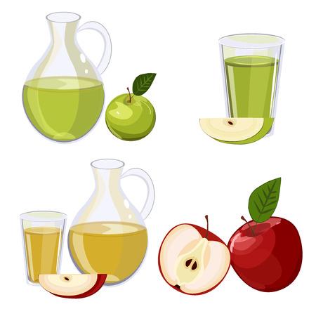 Full jug of apple juice, isolated on white set Illustration