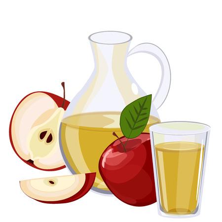 fiambres: jarra llena de jugo de manzana, aislado en blanco Vectores