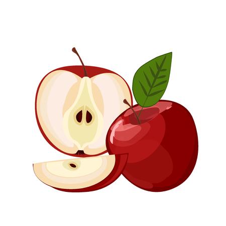 ripe: Ripe red apple with leaf Illustration