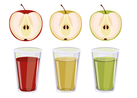 apple juice: Three glasses with apple juice. Red, yellow and green apple juice. Illustration
