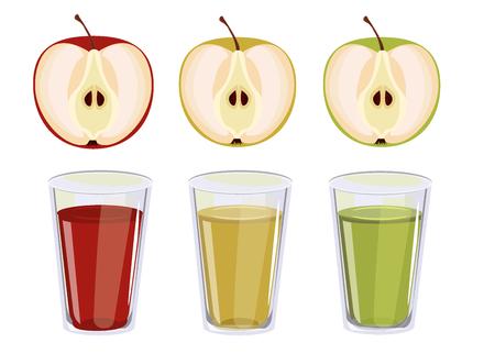 fiambres: Tres vasos con jugo de manzana. jugo de color rojo, amarillo y verde manzana. Vectores