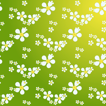field of daisies: White daisies seamless pattern on yellow background. Daisy field chamomile seamless pattern abstract design plant texture. Nature flower daisies summer chamomile seamless pattern. Illustration
