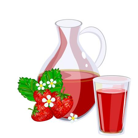 fiambres: Full jug of strawberry juice, isolated on white set. Glass jug of strawberry juice fruit fresh beverage natural green organic vitamin. set fresh and cold strawberry juice healthy fruit drink