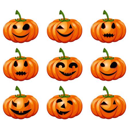 jack o  lanterns: Set pumpkins for Halloween. Set of spooky halloween jack o lanterns Illustration