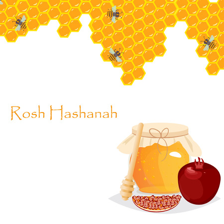 Rosh Hashanah jewish new year greeting card set design with hand drawing apple honey and pomegranate