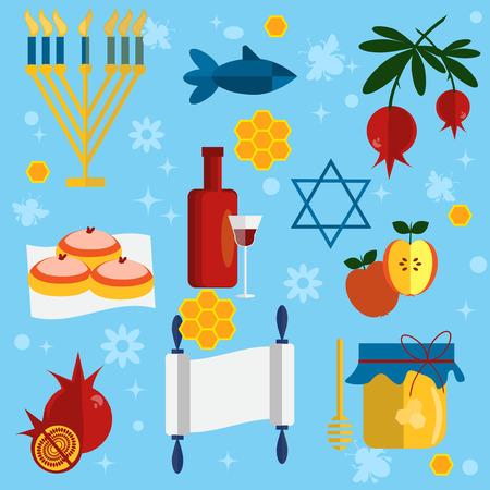 rosh hashanah: Rosh Hashanah jewish new year greeting card set design with hand drawing apple honey and pomegranate