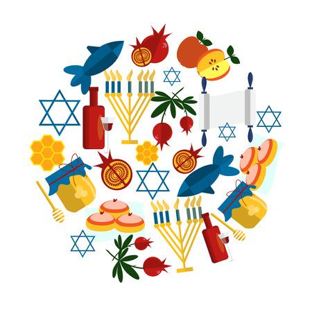 rosh hashanah: Rosh Hashanah jewish new year greeting card set design with hand drawing apple honey and pomegranate. Illustration