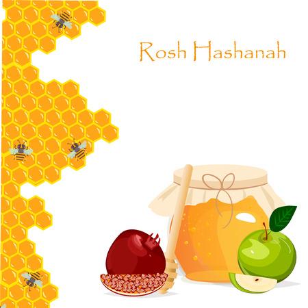 rosh hashanah: Rosh Hashanah jewish new year greeting card set design with hand drawing apple honey and pomegranate. Rosh Hashanah vector greeting card design for Jewish New Year. Rosh Hashanah celebration hashanah.