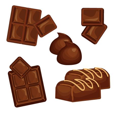 Barrette di cioccolato e pezzi di vector set. Dolce brown caramella cioccolato gourmet deliziosa. Zucchero gustoso ingrediente dolce al cioccolato caramelle alimentare di cacao isolato. Dessert al cioccolato bar latte mangi nero disegno. Vettoriali