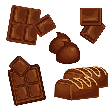 Chocolate bars and pieces vector set. Sweet brown candy chocolate gourmet delicious. Tasty ingredient sugar chocolate dessert food candy cocoa isolated. Chocolate dessert bar milk black eat design. Ilustração Vetorial