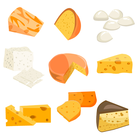 cheddar: Cheese types. Modern flat style realistic vector illustration icons isolated on white background. Gourmet product white cheese slice. Food dairy slice gourmet cheese cheddar yellow snack piece. Illustration