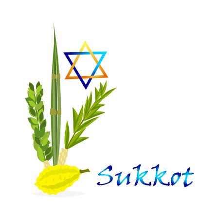hadas: Sukkot Jewish holiday. Jewish torah with Lulav date palm, Etrog citron, Arava willow and Hadas myrtle Jewish festival Sukkot species lulav. Palm branch, willow and myrtle leaves, etrog.