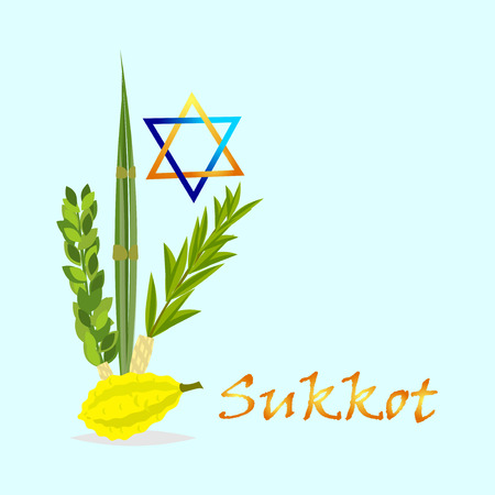 Sukkot Jewish holiday. Jewish torah with Lulav date palm, Etrog citron, Arava willow and Hadas myrtle Jewish festival Sukkot species lulav. Palm branch, willow and myrtle leaves, etrog.