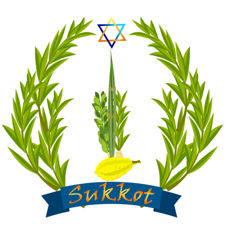 Sukkot Jewish holiday vector. Jewish torah Lulav date palm, Etrog citron, Arava willow and Hadas myrtle Jewish festival Sukkot species lulav. Palm branch, willow and myrtle leaves, etrog.