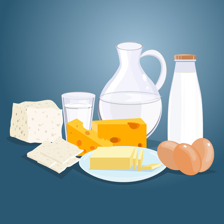 cottage cheese: Dairy products. Milk products. Farm products diet nutrition drink. Cheese, milk, cottage cheese, yogurt dairy products. Vector flat cartoon illustration dairy products healthy cream ingredient.