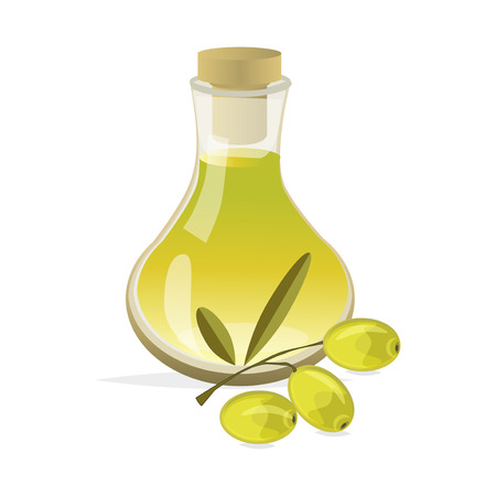 mediterranean diet: Olive ingredient healthy food . Branch with olives and bottle of olive oil. Healthy mediterranean diet fresh eating bottle olive oil. Cooking liquid virgin olive oil fruit vegetarian branch.