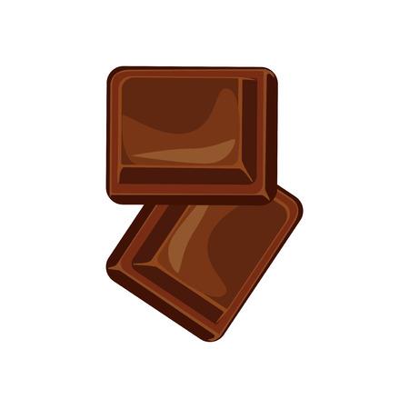 Barras de chocolate y piezas conjunto de vectores. Dulce caramelo chocolate gourmet delicioso. aislado sabroso ingrediente azúcar postre de chocolate de cacao caramelo de alimentos. Postre de la barra de leche negro come diseño.