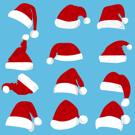 Set of red Santa Claus hats isolated.. christmas holiday santa hat traditional accessory.