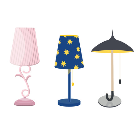 Lamps furniture set light design electric vector illustration. Electricity floor lamps and table lamps. Lamps decoration modern, classic bright bulb. Energy interior equipment lantern sign. Illustration