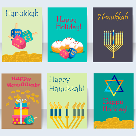 Hanukkah jewish holiday cards traditional religious set vector. Jewish cards and invitation hanukkah celebration flat icons set isolated vector. Jewish hanukkah card church traditional religious.