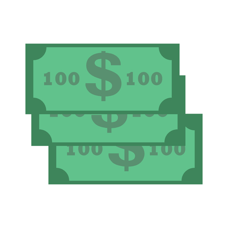 american downloads: Dollar paper banknote. Stack of wealth banknote dollars isolated on white. Green color paper dollar banknote finance concept. Dollar banknote bill vector business usa banking currency cash symbol.