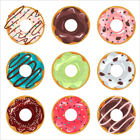 Collection of glazed colored donuts vector with icing sprinkles. Donut set with sprinkles isolated, tasty cream doughnut. Pastry snack cake breakfast donut food bakery sugar chocolate delicious.