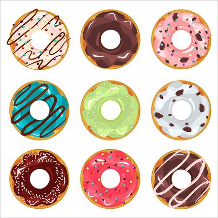 Raccolta di ciambelle di colore satinato vettore con spruzza glassa. Donut set con spruzza isolato, gustosa crema ciambella. Torta della pasticceria spuntino prima colazione ciambella cibo da forno zucchero cioccolato deliziosa.
