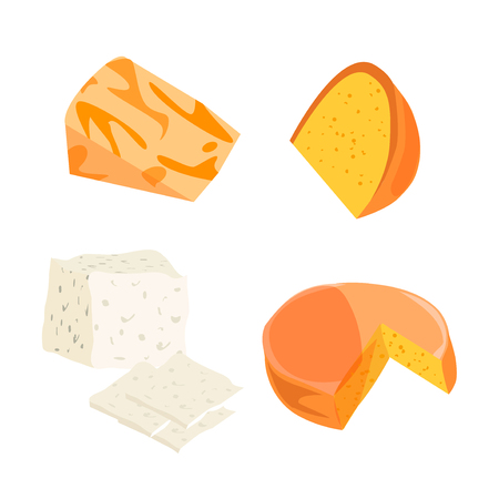 edam: Cheese types. Modern flat style realistic vector illustration icons isolated on white background. Gourmet product white cheese slice. Food dairy slice gourmet cheese cheddar yellow snack piece. Illustration