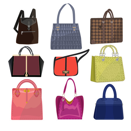 Women leather color handbags isolated on white background. Modern luxury color handle woman bag for shopping. Elegance glamour woman bag collection. Female beauty woman handbag clutch.