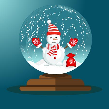 Merry christmas glass ball with snowman. Vector magical decorative seasonal snow globe. Holiday decoration magic sphere snow globe christmas winter ball. Transparent magic sphere.